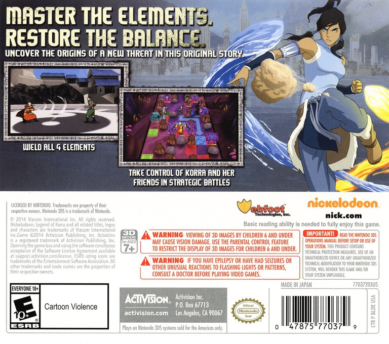 The Legend of Korra - A New Era Begins 3DS backHQ (BLDE)