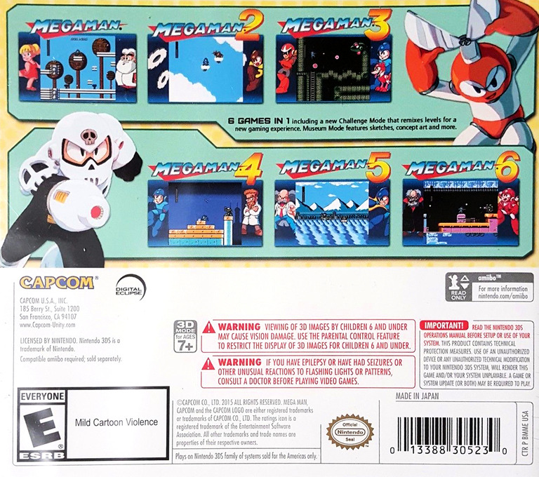 Mega Man Legacy Collection 3DS backHQ (BMME)