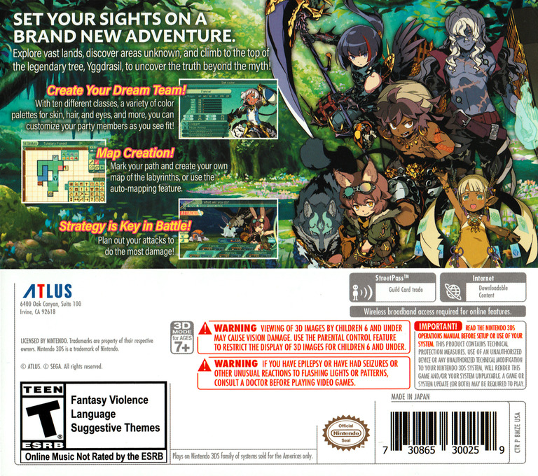 Etrian Odyssey V: Beyond the Myth 3DS backHQ (BMZE)