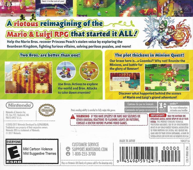 Mario & Luigi: Superstar Saga + Bowser's Minions 3DS backHQ (BRME)