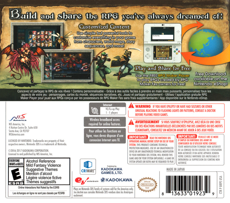 RPG Maker Fes 3DS backHQ (BRPE)