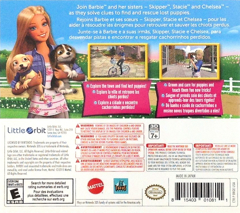 Barbie & Her Sisters - Puppy Rescue 3DS backHQ (BRQE)
