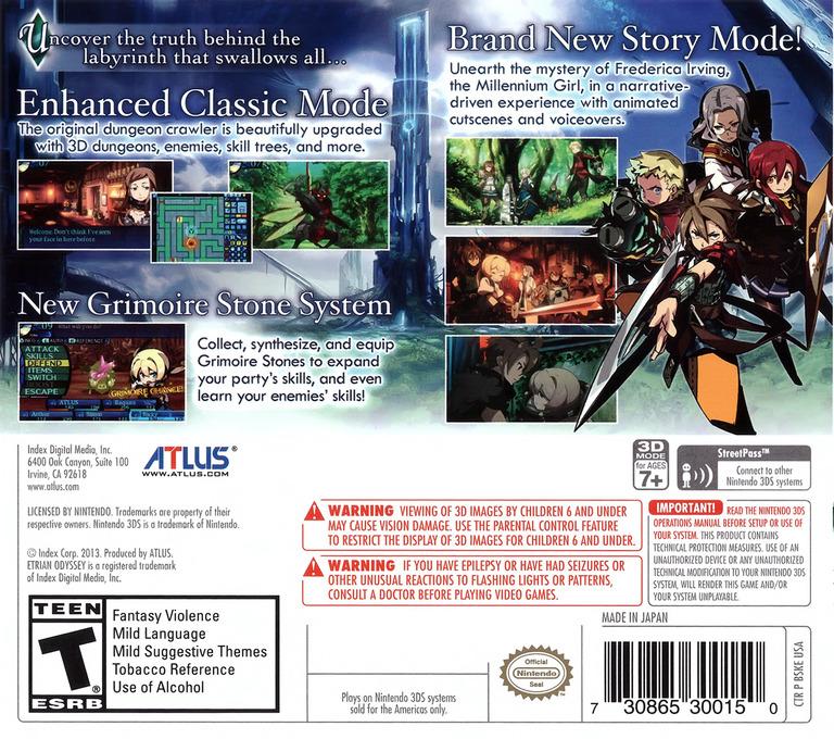 Etrian Odyssey Untold - The Millennium Girl 3DS backHQ (BSKE)