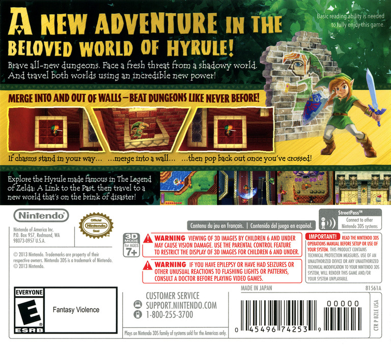 The Legend of Zelda - A Link Between Worlds 3DS backHQ (BZLE)