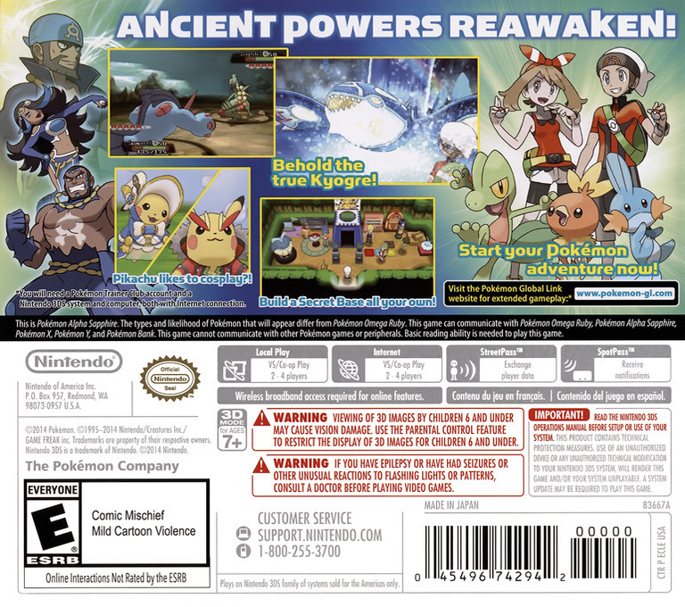 Pokémon Alpha Sapphire 3DS backHQ (ECLE)