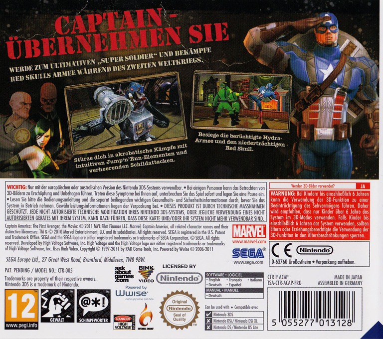 Captain America - Super Soldier 3DS backHQ (ACAP)