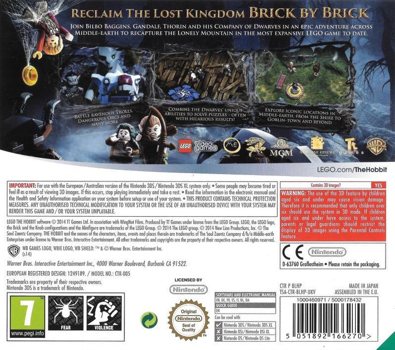 LEGO The Hobbit 3DS backHQB (BLHP)
