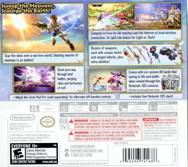Kid Icarus - Uprising 3DS backHQB (AKDE)