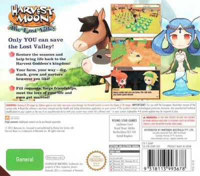 Harvest Moon 3D - The Lost Valley 3DS backM (AVMP)