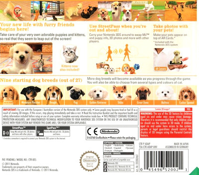 Nintendogs + Cats - Golden Retriever & New Friends 3DS backM (ADAP)