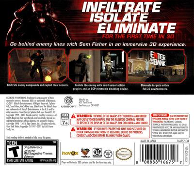 Tom Clancy's Splinter Cell 3D 3DS backM (ASCZ)