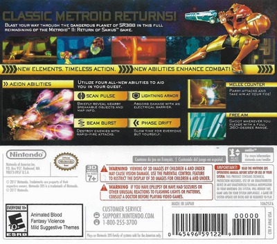 Metroid: Samus Returns 3DS backM (A9AE)