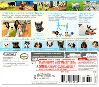 Nintendogs + Cats - French Bulldog & New Friends 3DS backM (ADBE)