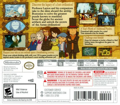 Professor Layton and the Azran Legacy 3DS backM (AL6E)