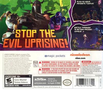Nickelodeon Teenage Mutant Ninja Turtles 3DS backM (ANYE)
