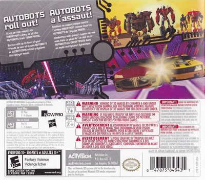 Transformers Prime - The Game 3DS backM (ATPE)