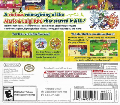 Mario & Luigi: Superstar Saga + Bowser's Minions 3DS backM (BRME)