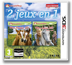 2 in 1 Horses & Foal: My Foal 3D + My Riding Stables 3D - Rivals in the Saddle 3DS cover (BMFP)