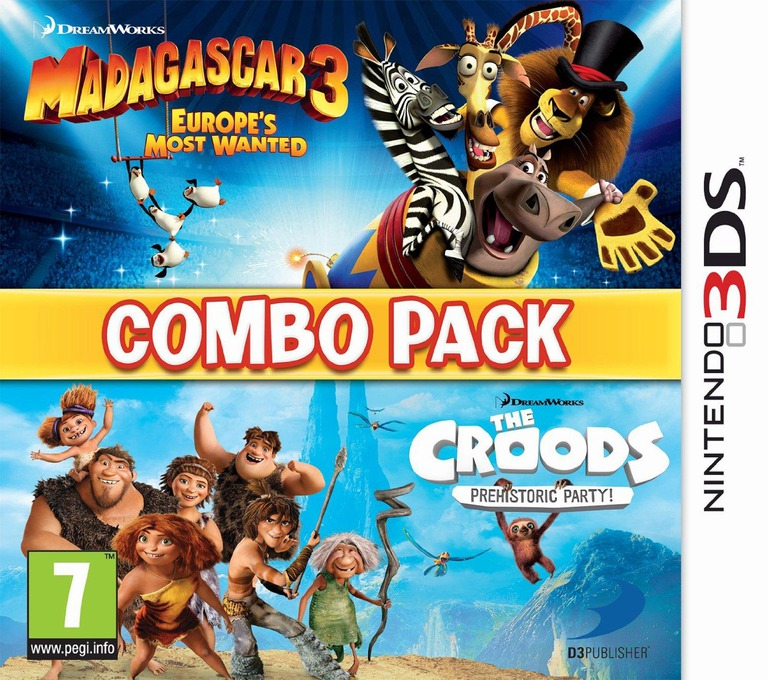 The Combo Pack - Madagascar 3 - Europe's Most Wanted + Croods - Prehistoric Party! 3DS coverHQ (AGCP)
