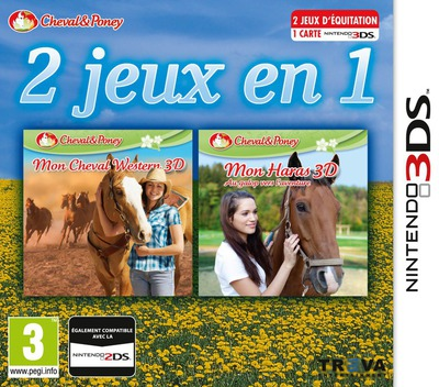 2 in 1 - Horses 3D Vol. 3 - My Riding Stables 3D - Jumping for the Team and My Western Horse 3D 3DS coverM (BM2P)