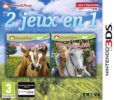 2 jeux in 1 Cheval & Poney: Mon Poulain 3D + Mon haras 3D - tous en selle 3DS coverM (BMFP)