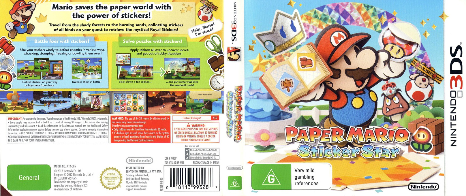 Paper Mario - Sticker Star 3DS coverfullHQ (AG5P)
