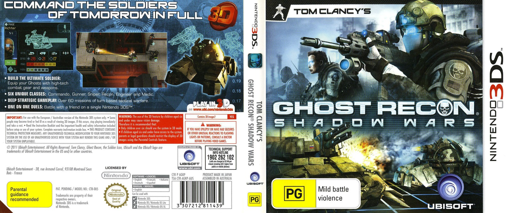 Tom Clancy's Ghost Recon - Shadow Wars 3DS coverfullHQ (AGRP)