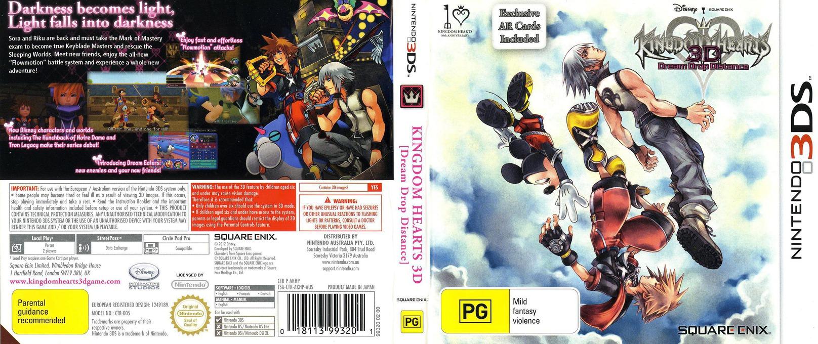 Kingdom Hearts 3D - Dream Drop Distance 3DS coverfullHQ (AKHP)