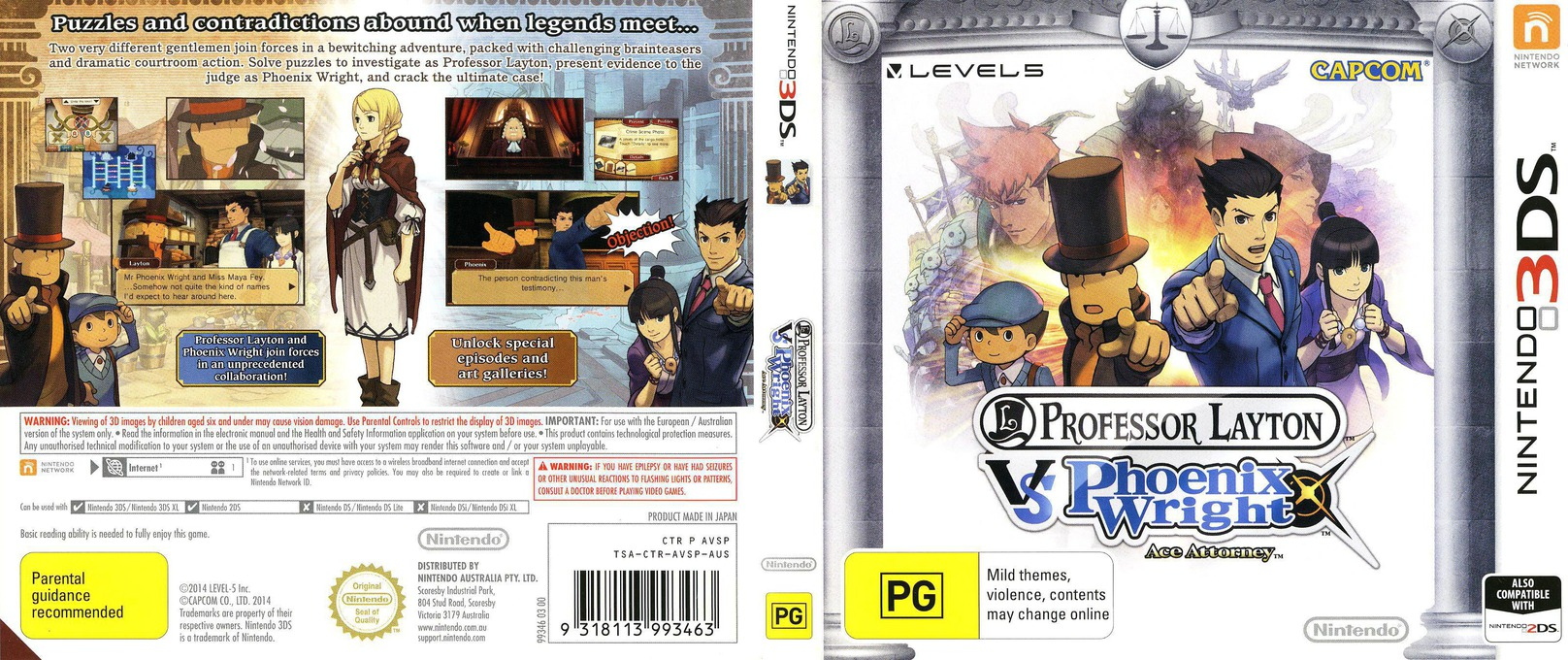 Professor Layton vs. Phoenix Wright - Ace Attorney 3DS coverfullHQ (AVSP)