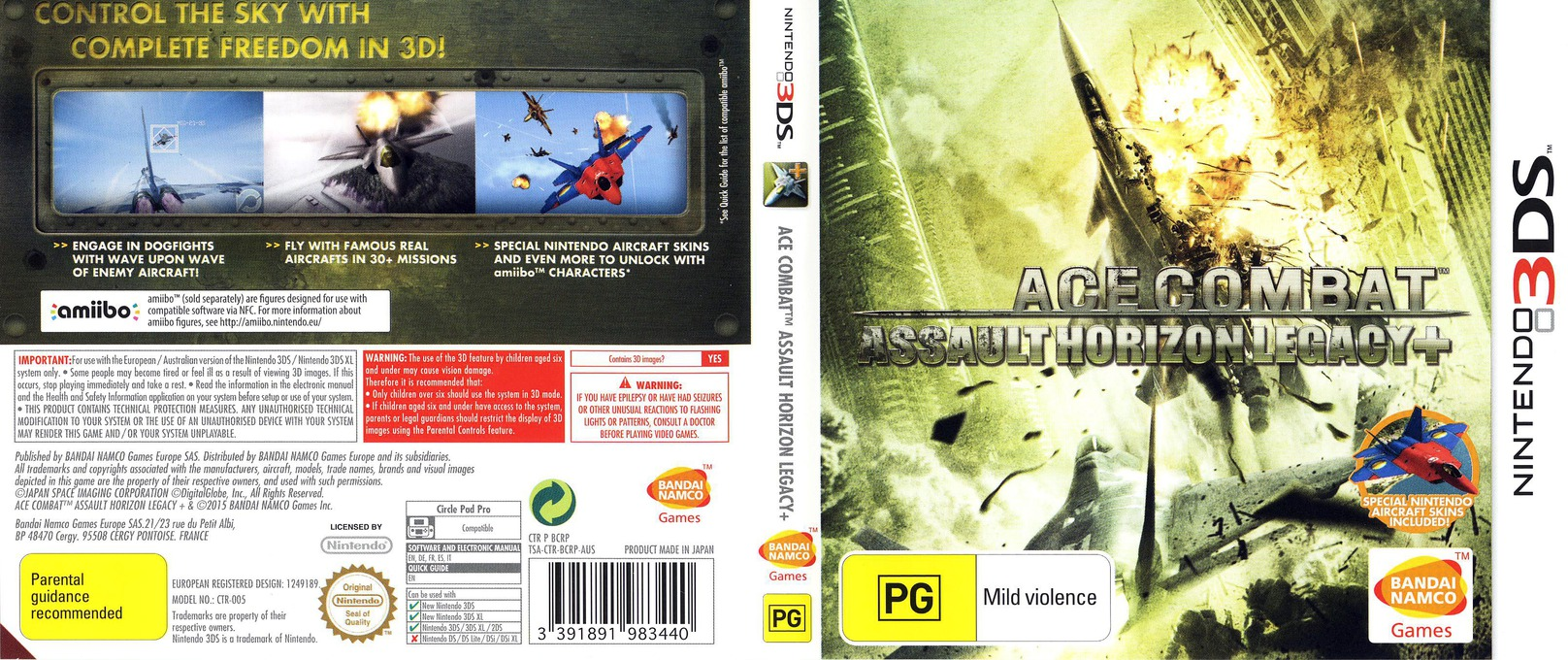 Ace Combat - Assault Horizon Legacy+ 3DS coverfullHQ (BCRP)