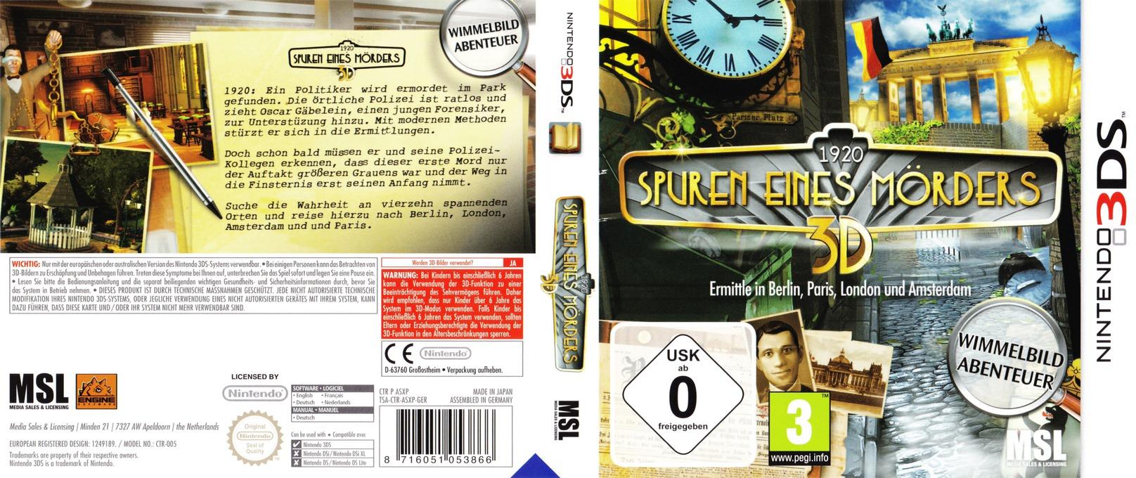 1920 Spuren eines Mörders 3D 3DS coverfullHQ (ASXP)