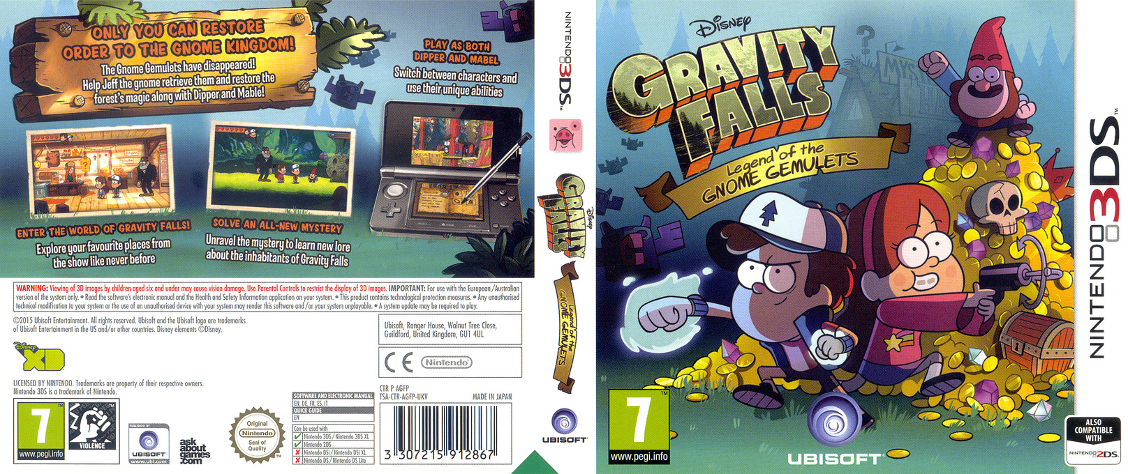 Gravity Falls - Legend of the Gnome Gemulets 3DS coverfullHQ (AGFP)