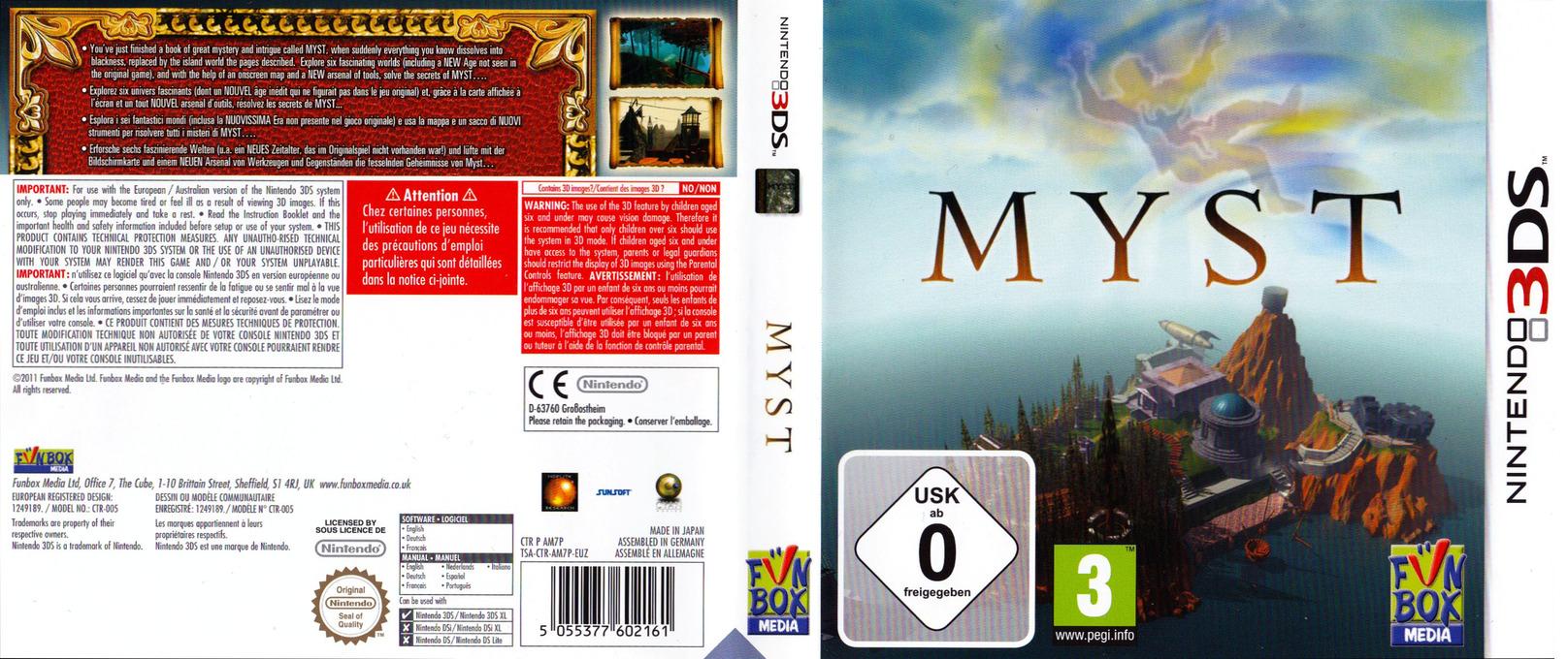 Myst 3DS coverfullHQ (AM7P)