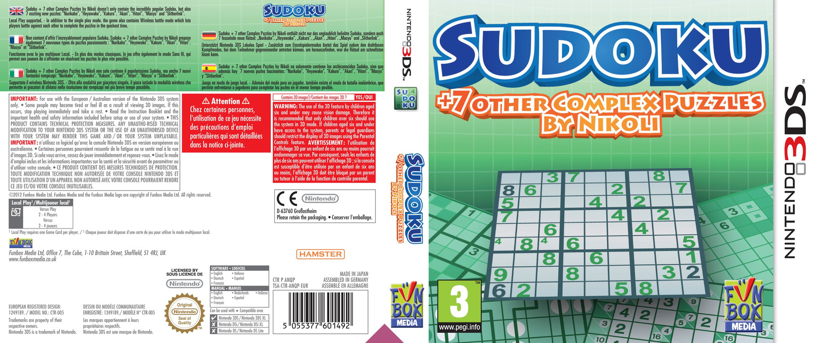 Sudoku + 7 Other Complex Puzzles by Nikoli 3DS coverfullHQ (ANQP)