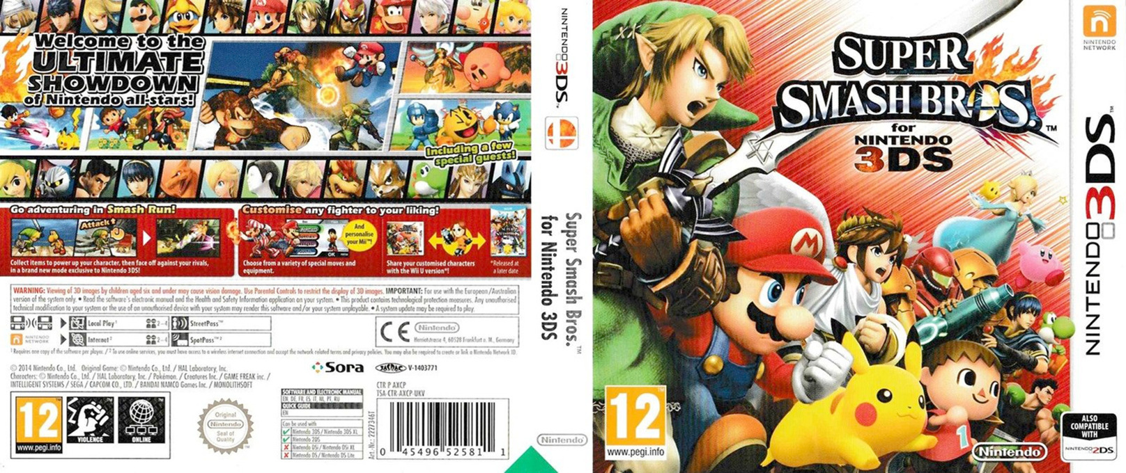 Super Smash Bros. for Nintendo 3DS 3DS coverfullHQ (AXCP)