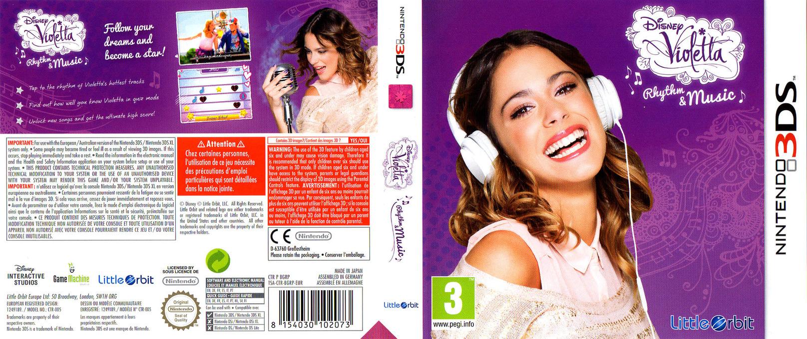 Disney Violetta - Rhythm & Music 3DS coverfullHQ (BGRP)