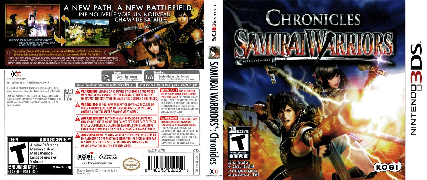 Samurai Warriors - Chronicles 3DS coverfullHQ (A66E)