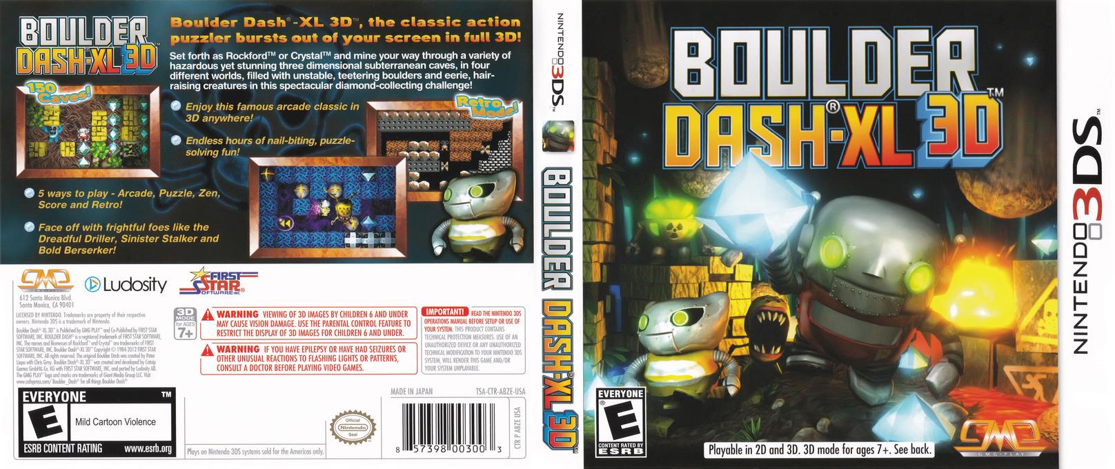 Boulder Dash-XL 3D 3DS coverfullHQ (ABZE)