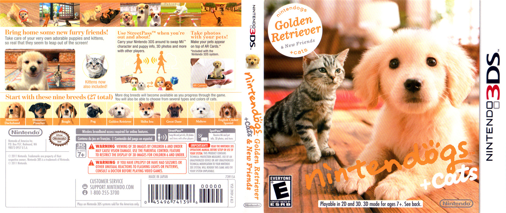 Nintendogs + Cats - Golden Retriever & New Friends 3DS coverfullHQ (ADAE)