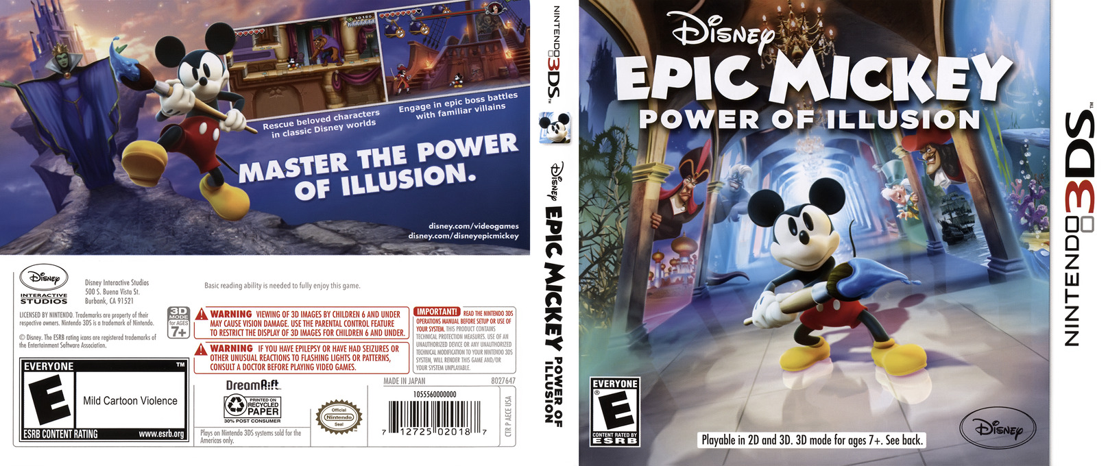 Disney Epic Mickey - Power of Illusion 3DS coverfullHQ (AECE)