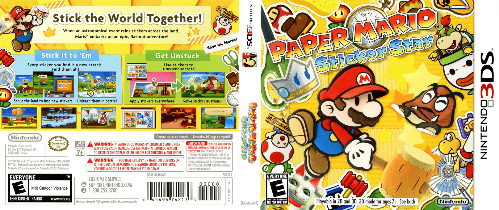 Paper Mario - Sticker Star 3DS coverfullHQ (AG5E)