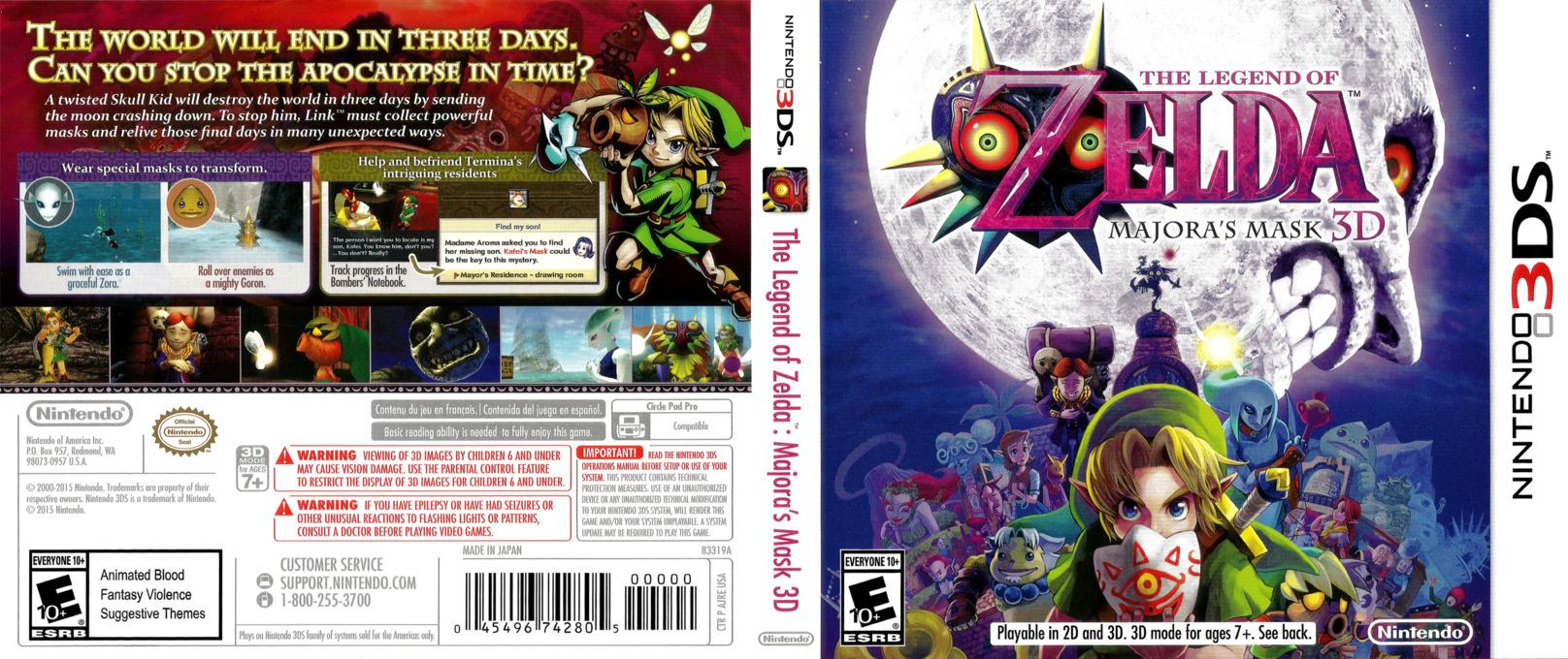 The Legend of Zelda - Majora's Mask 3D 3DS coverfullHQ (AJRE)