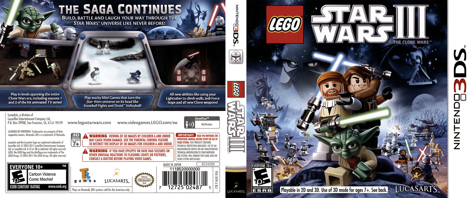 LEGO Star Wars III - The Clone Wars 3DS coverfullHQ (ALGE)