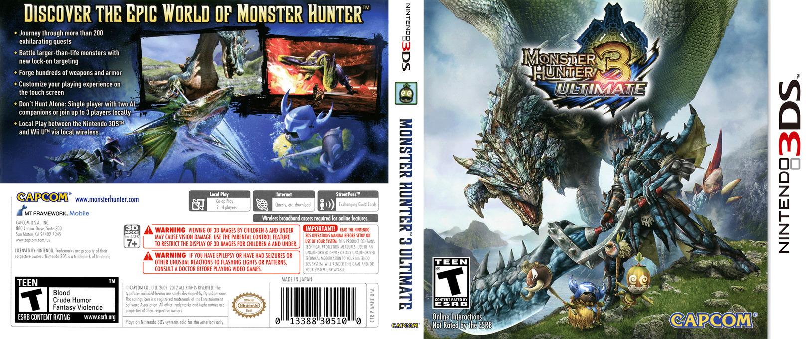 Monster Hunter 3 Ultimate 3DS coverfullHQ (AMHE)