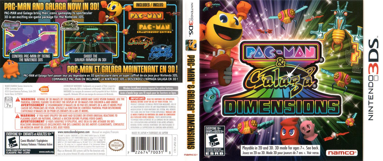 Pac-Man & Galaga Dimensions 3DS coverfullHQ (APGE)
