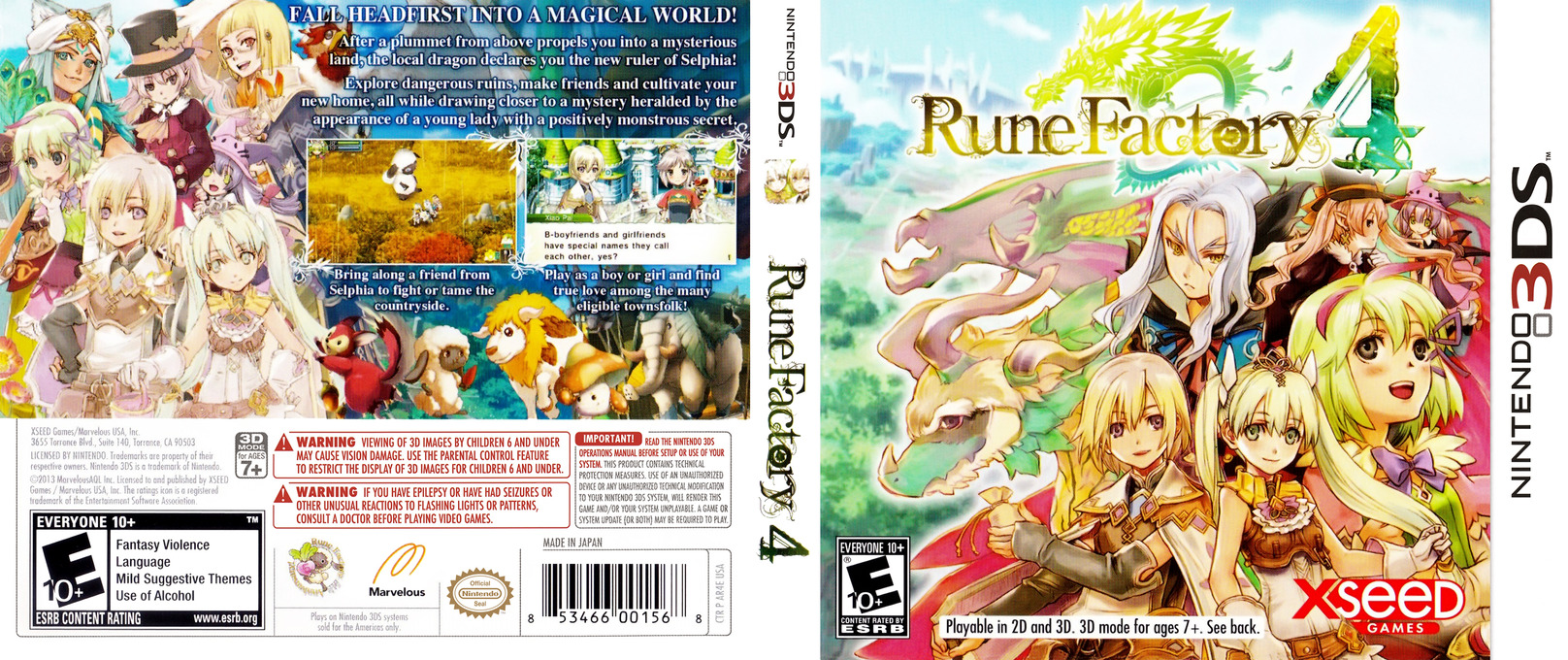 Rune Factory 4 3DS coverfullHQ (AR4E)