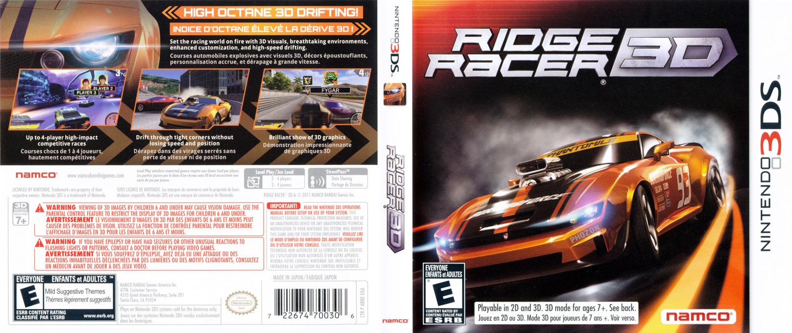 Ridge Racer 3D 3DS coverfullHQ (ARRE)