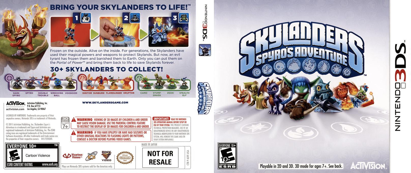 Skylanders - Spyro's Adventure 3DS coverfullHQ (ASPE)