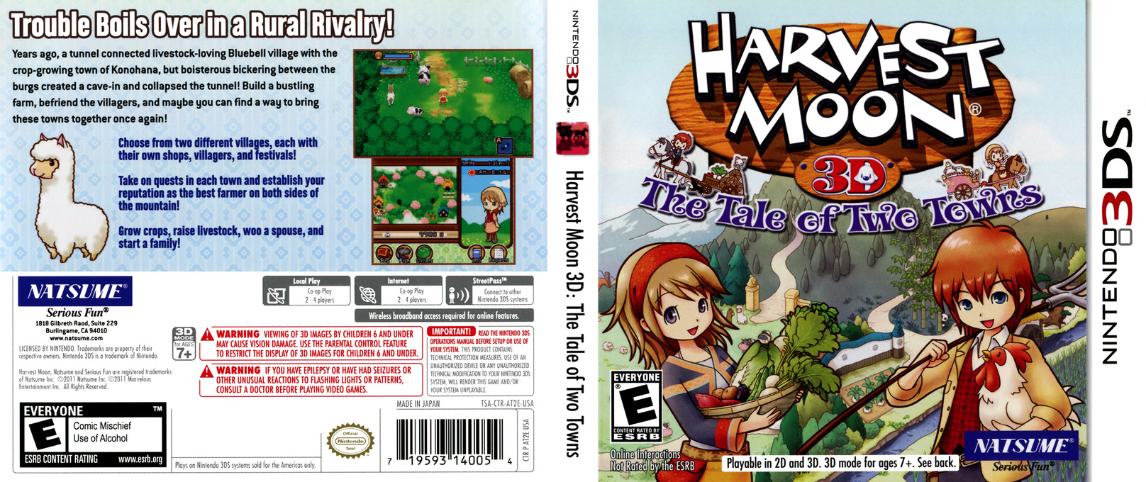 Harvest Moon 3D - The Tale of Two Towns 3DS coverfullHQ (AT2E)