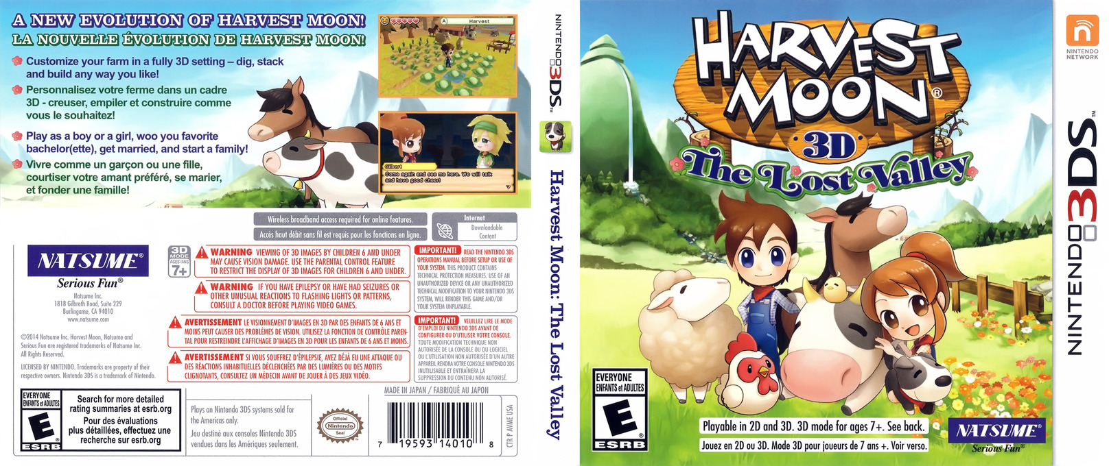 Harvest Moon 3D - The Lost Valley 3DS coverfullHQ (AVME)